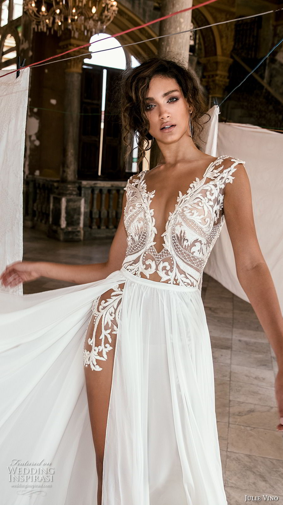 julie vino fall 2018 havana sleeveless deep v neck heavily embellished bodice high slit skirt romantic sexy soft a line wedding dress sweep train (17) zv