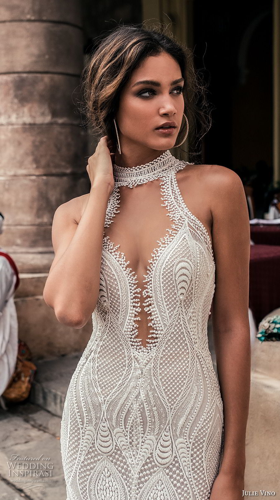 julie vino fall 2018 havana sleeveless halter jewel neck deep plunging sweetheart neck full embellishment elegant sexy fit and flare sheath wedding dress shear button back sweep train (13) zv
