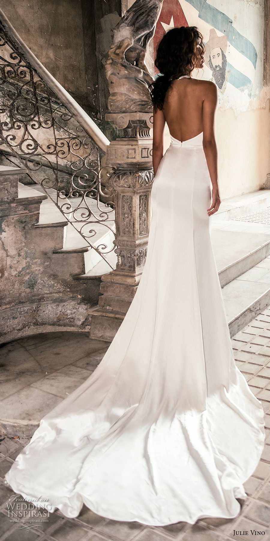julie vino fall 2018 havana sleeveless jewel halter neck keyhole bodice simple clean elegant sexy chic sheath wedding dress with pockets open back chapel train (8) bv
