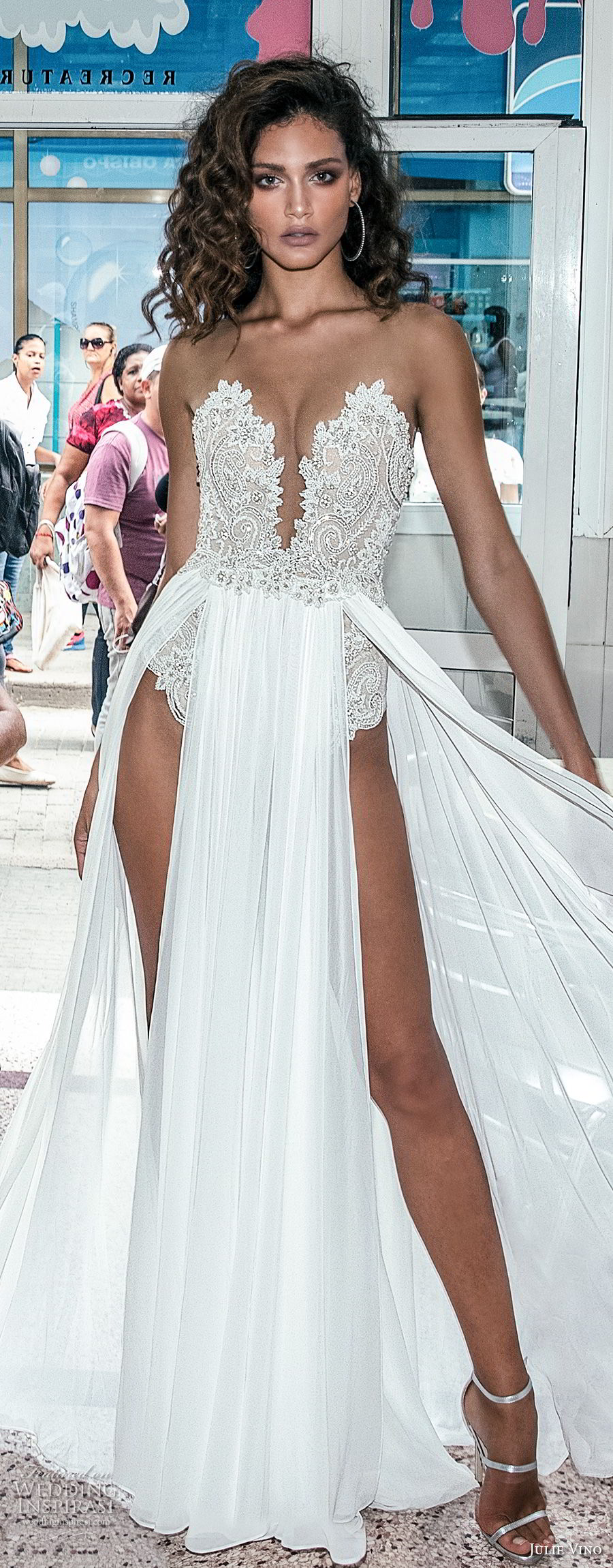 julie vino fall 2018 havana strapless deep plunging sweetheart neckline heavily embellished bodice double slit skirt sexy romantic soft a line wedding dress sweep train (1) lv