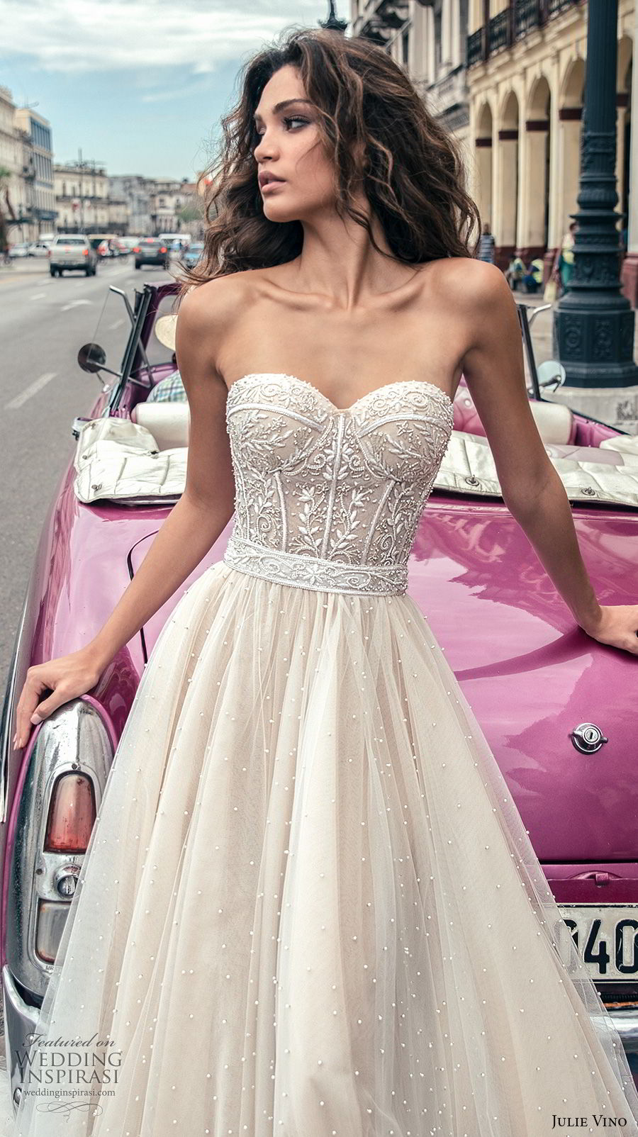 julie vino fall 2018 havana strapless sweetheart neckline heavily embellished bodice tulle skirt romantic soft a line wedding dress open back chapel train (6) zv