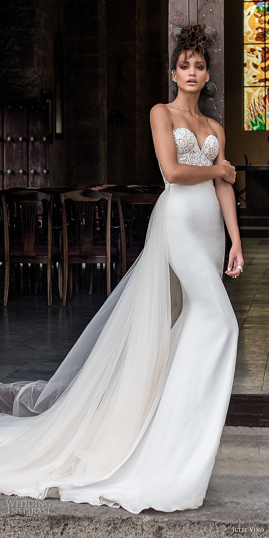 julie vino fall 2018 havana strapless sweetheart neckline heavily embellished elegant sheath wedding dress chapel train (9) mv