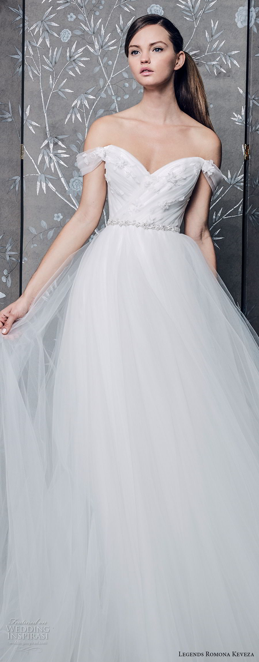 legends romona keveza fall 2018 off the shoulder sweetheart neckline wrap over bodice tulle skirt romantic a line wedding dress chapel train (2) lv