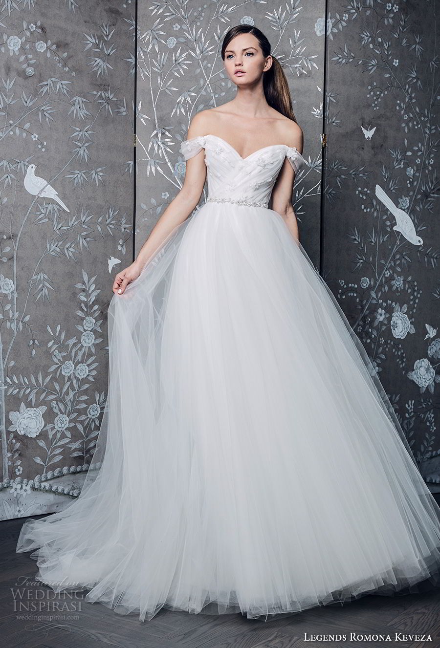 legends romona keveza fall 2018 off the shoulder sweetheart neckline wrap over bodice tulle skirt romantic a line wedding dress chapel train (2) mv