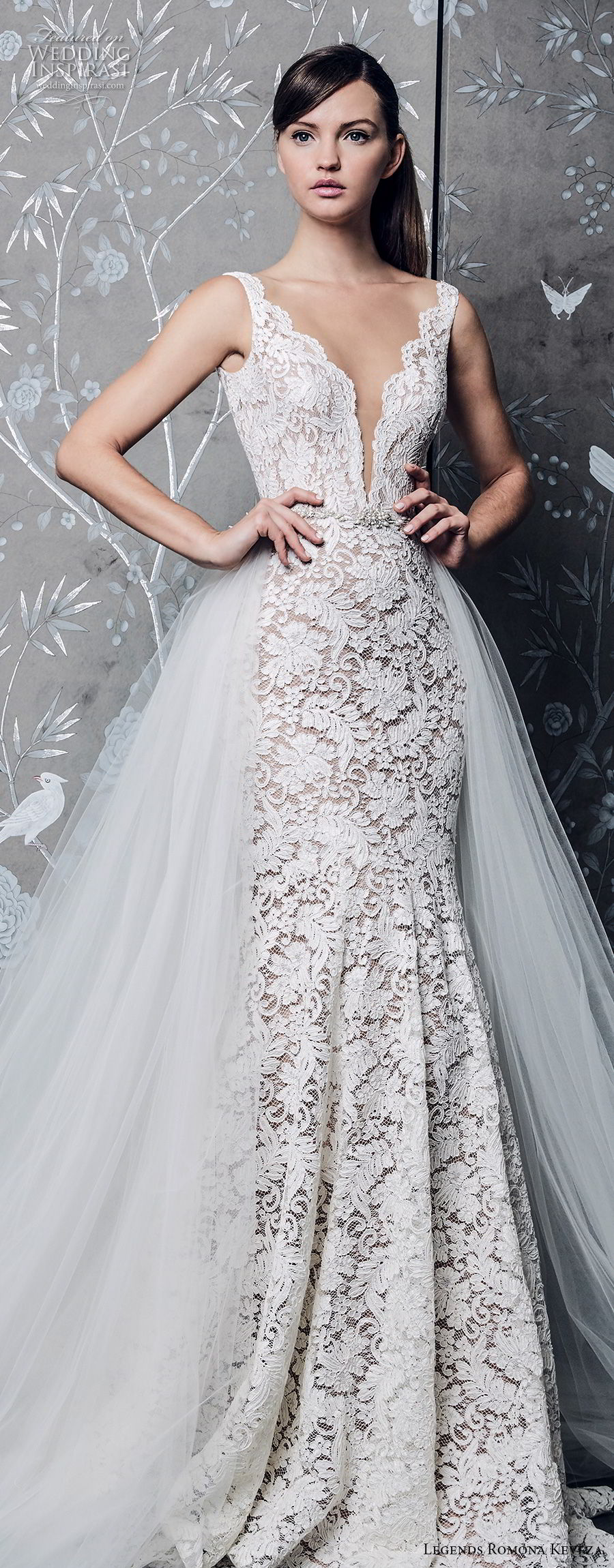 legends romona keveza fall 2018 sleeveless deep v neck full embellishment elegant romantic a line wedding dress a line overskirt chapel train (1) lv