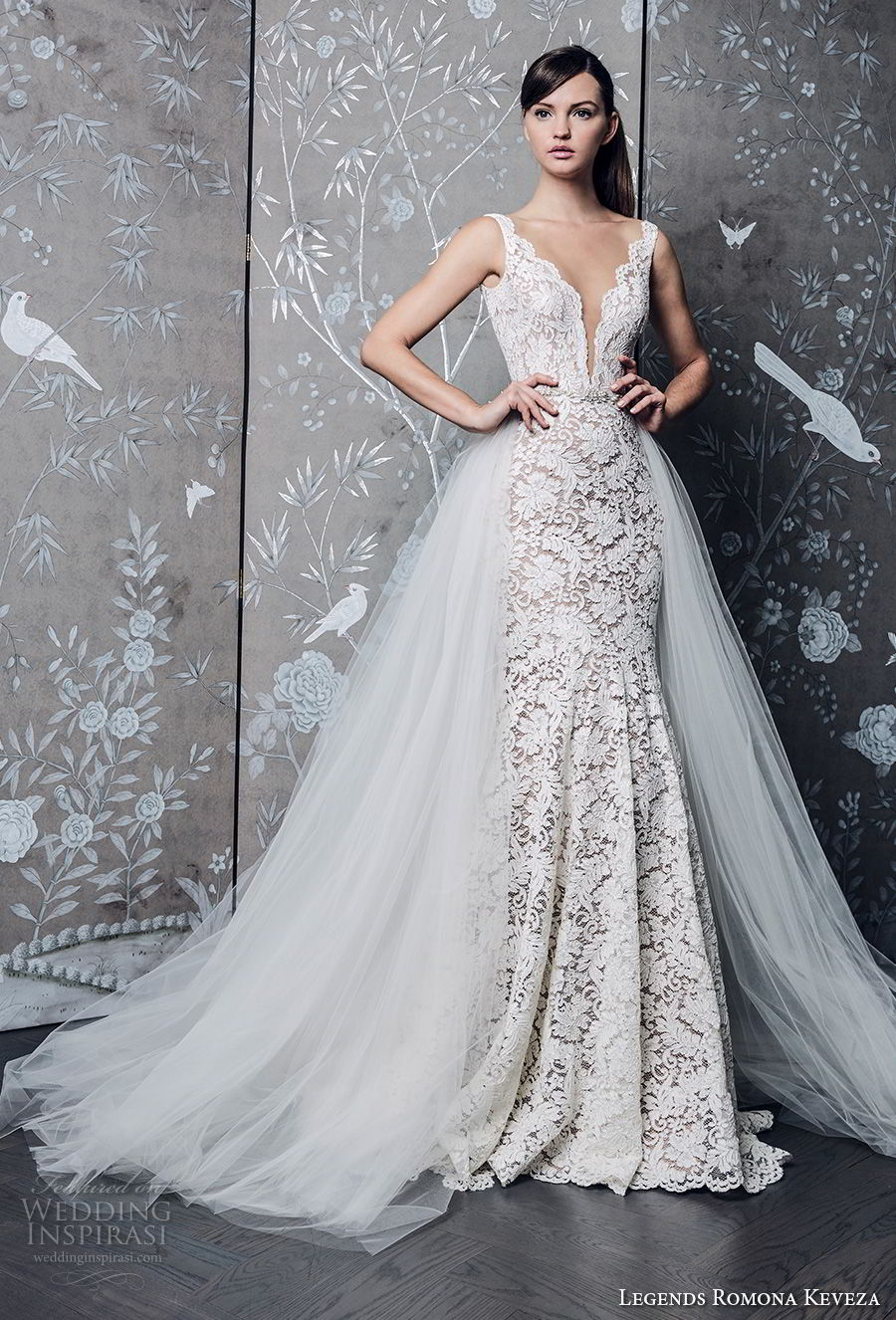 legends romona keveza fall 2018 sleeveless deep v neck full embellishment elegant romantic a line wedding dress a line overskirt chapel train (1) mv