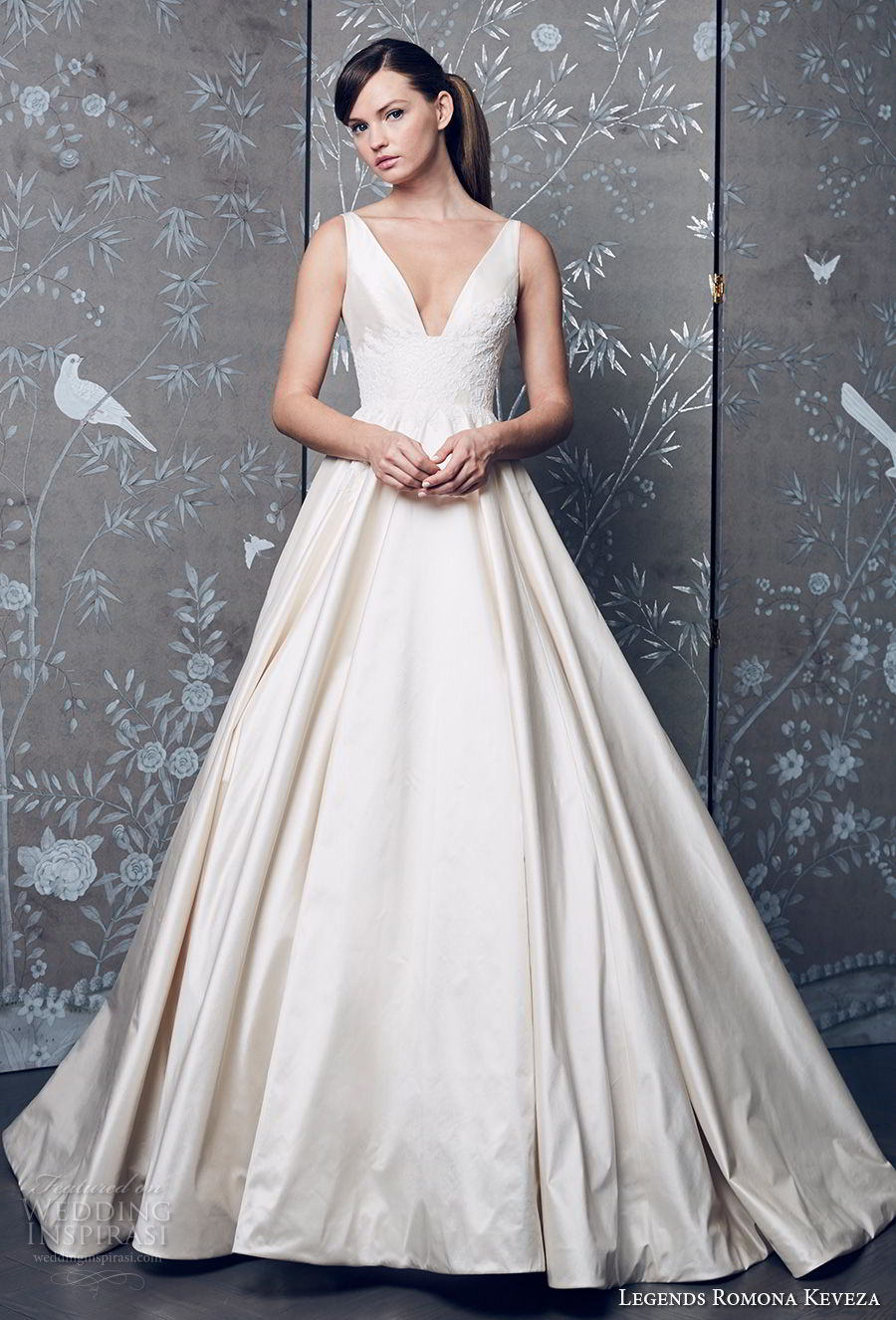 legends romona keveza fall 2018 sleeveless deep v neck simple light embellished bodice satin skirt classic a line wedding dress (5) mv