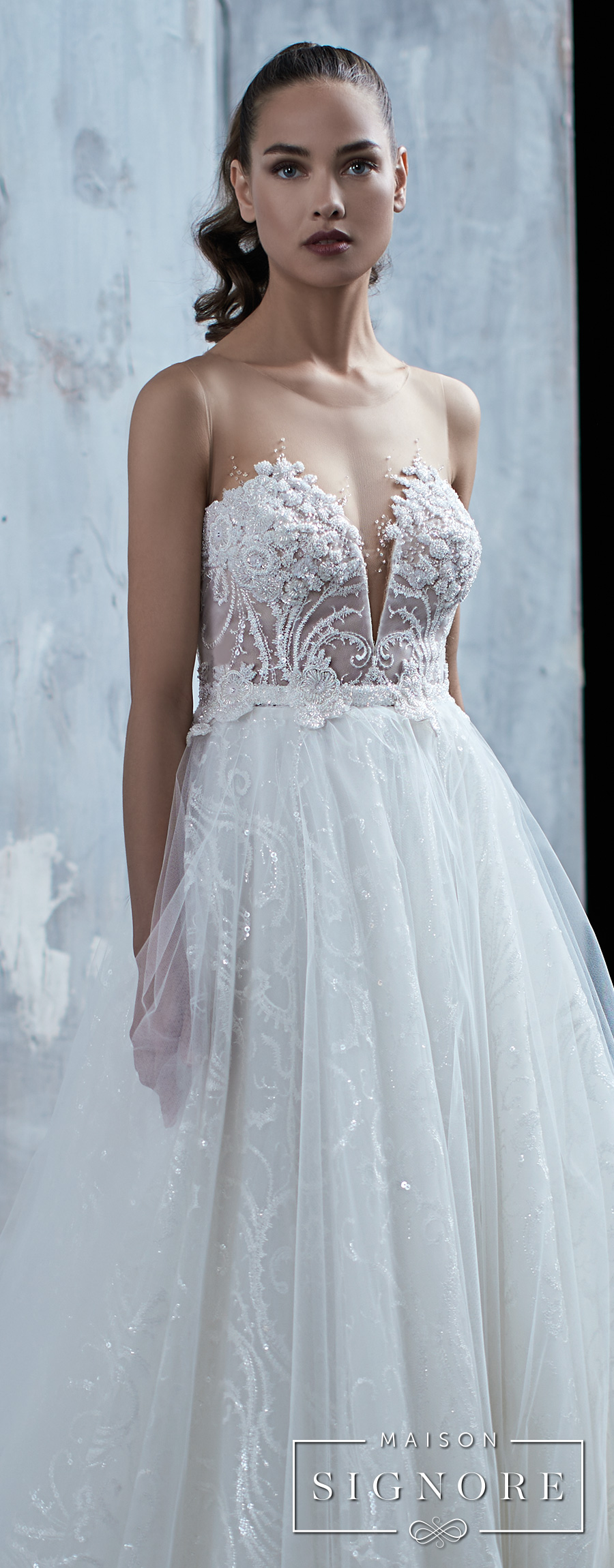 maison signore 2017 bridal strapless deep plunging sweetheart neckline romantic a  line wedding dress (tatum) zv