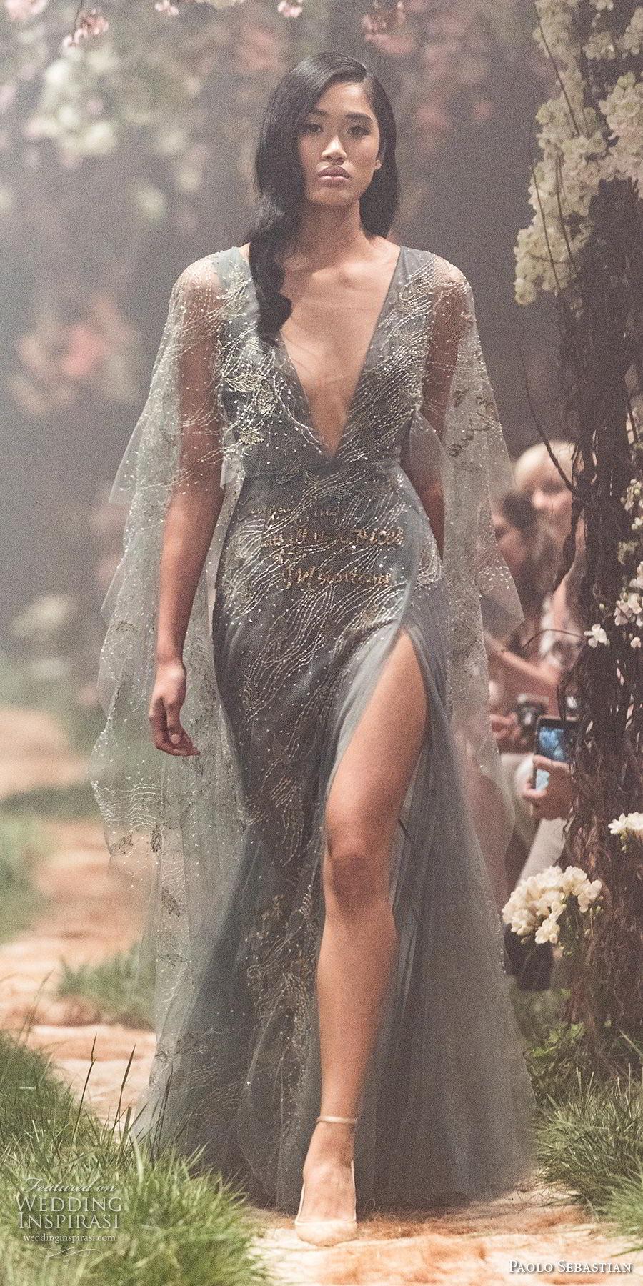 paolo sebastian spring 2018 couture half sleeves deep v neck full embellishment side slit elegant sheath a  line wedding dress (31) mv