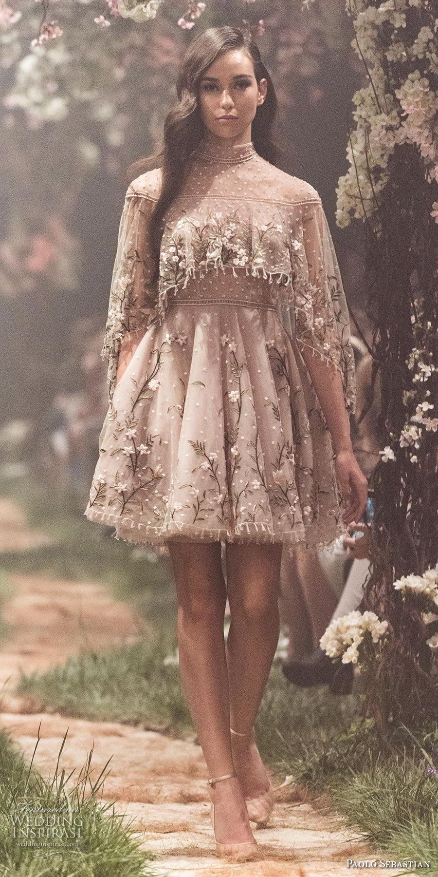 paolo sebastian spring 2018 couture half sleeves high neck full embellishment cute pretty romantic baby doll above the knee short wedding dress (29) mv