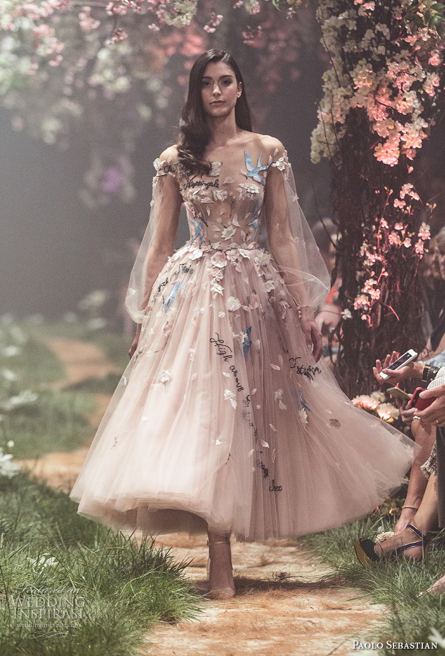 paolo sebastian spring 2018 couture long bishop sleeves illusion jewel sweetheart neck full embellishment romantic blush color tea length short wedding dress (18) mv