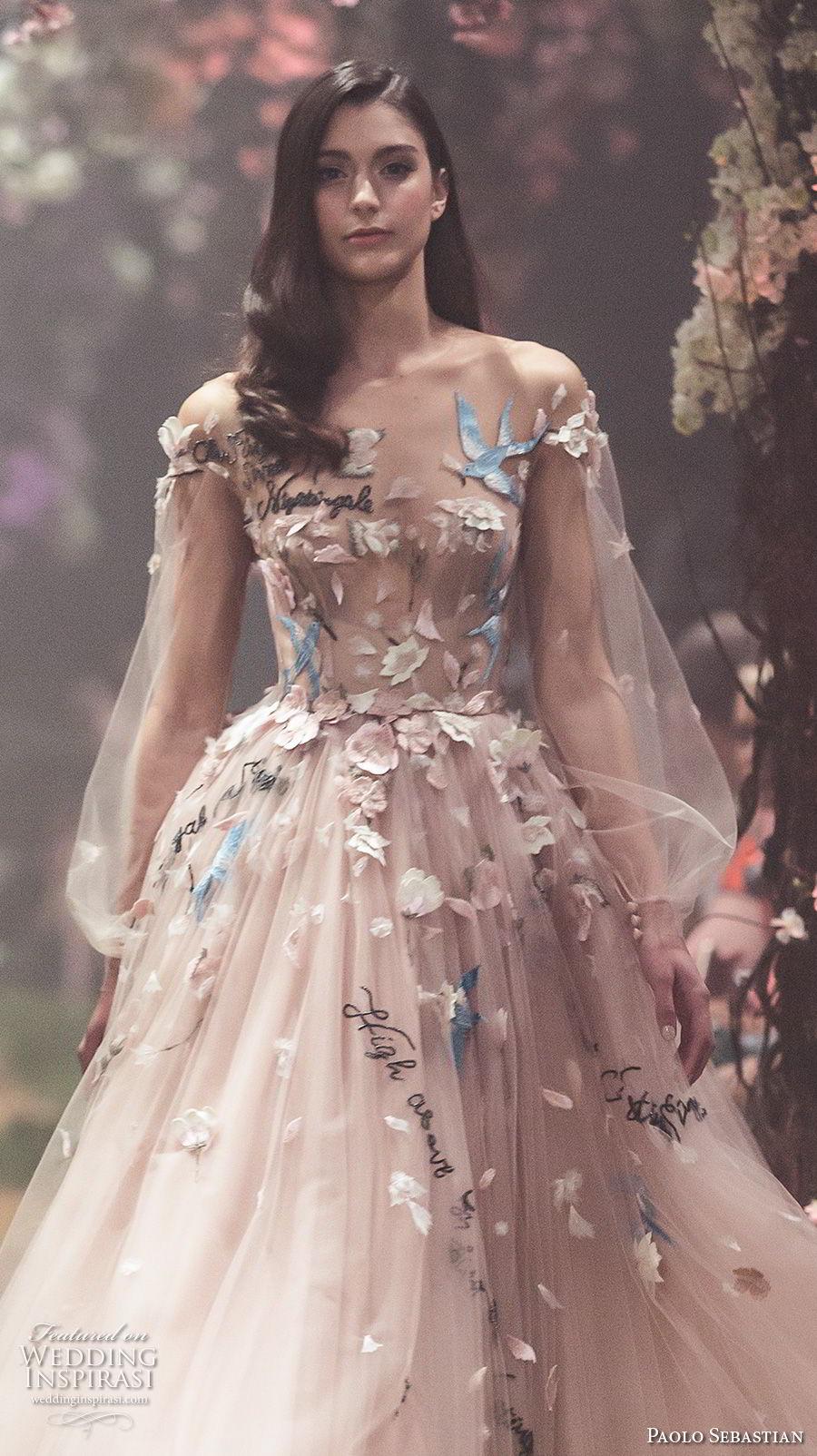 paolo sebastian spring 2018 couture long bishop sleeves illusion jewel sweetheart neck full embellishment romantic blush color tea length short wedding dress (18) zv