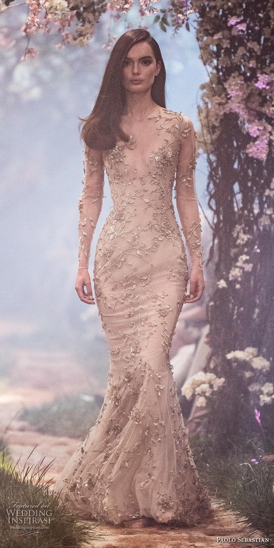 paolo sebastian spring 2018 couture long sleeves deep v neck full embellishment elegant champagne color mermaid wedding dress (24) mv