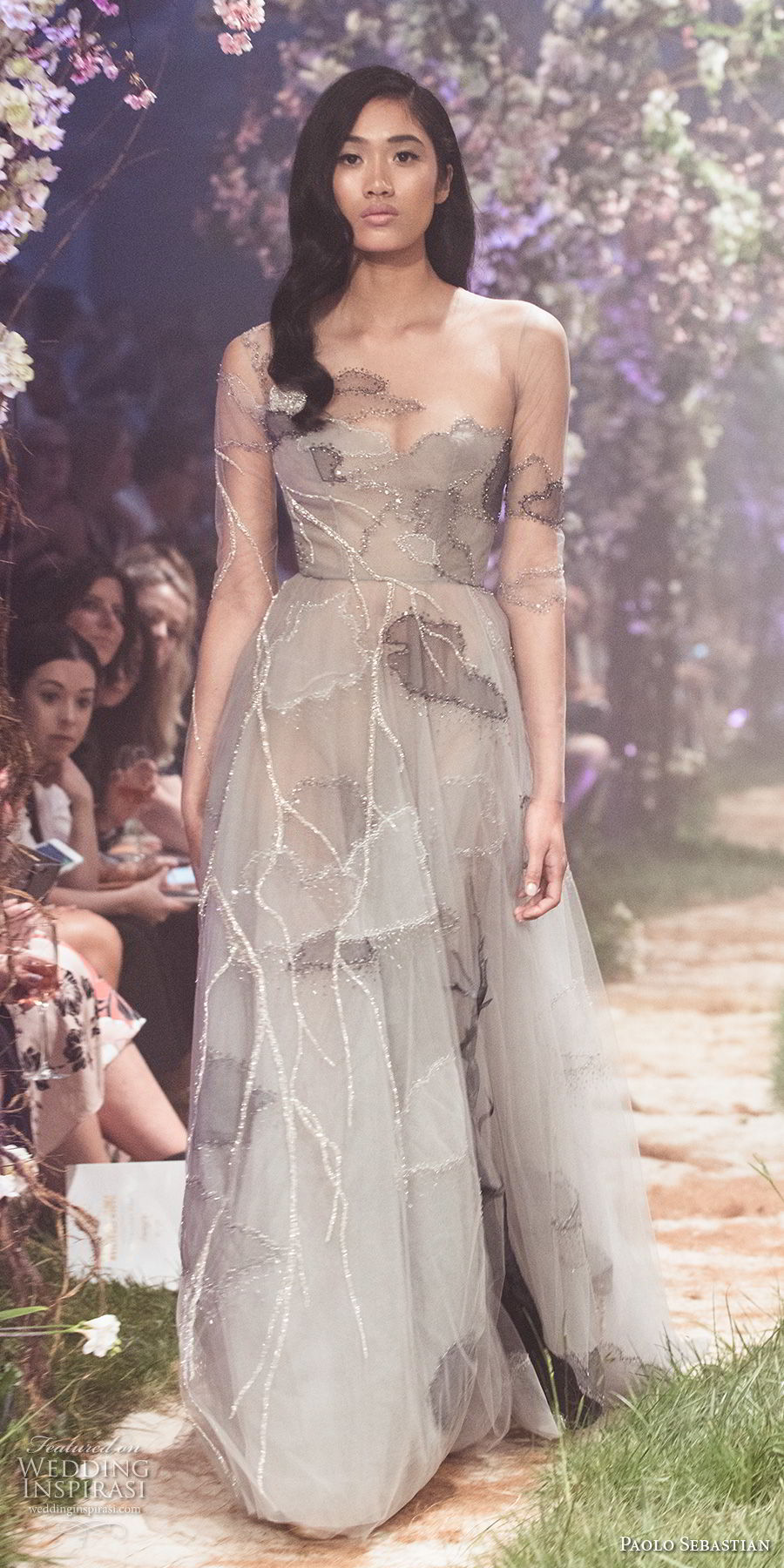 paolo sebastian spring 2018 couture long sleeves illusion bateau sweetheart neckline full embellishment elegant romantic soft a line wedding dress (32) mv