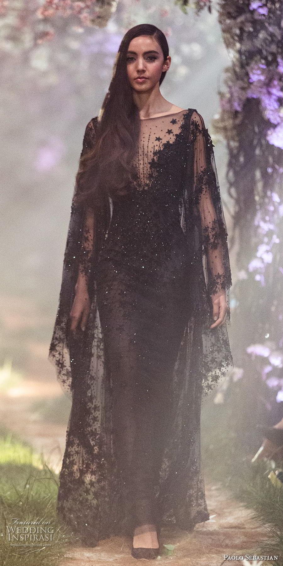 paolo sebastian spring 2018 couture long sleeves illusion bateau v neck full embellishment elegant black sheath wedding dress (14) mv