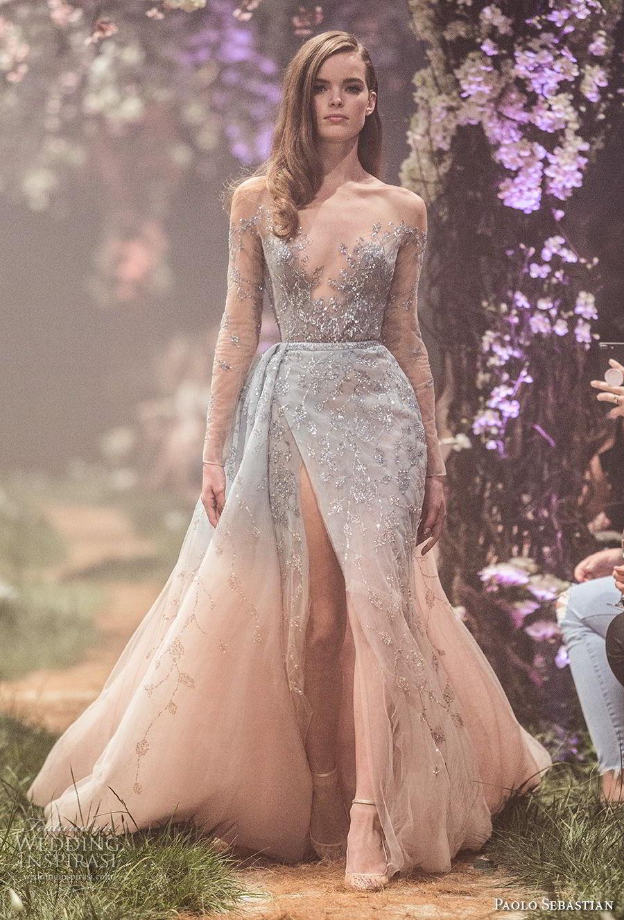 paolo sebastian spring 2018 couture long sleeves illusion bateau v neck full embellishment side slit romantic pastel blue blush color a  line wedding dress (6) mv