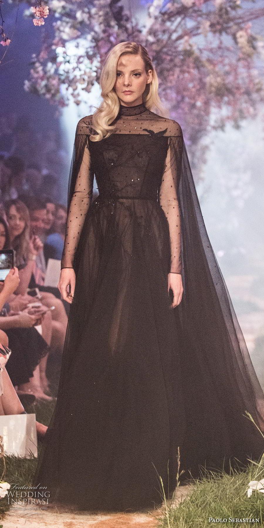 paolo sebastian spring 2018 couture long sleeves illusion high neck lightly embellished bodice elegant black soft a  line wedding dress (26) mv