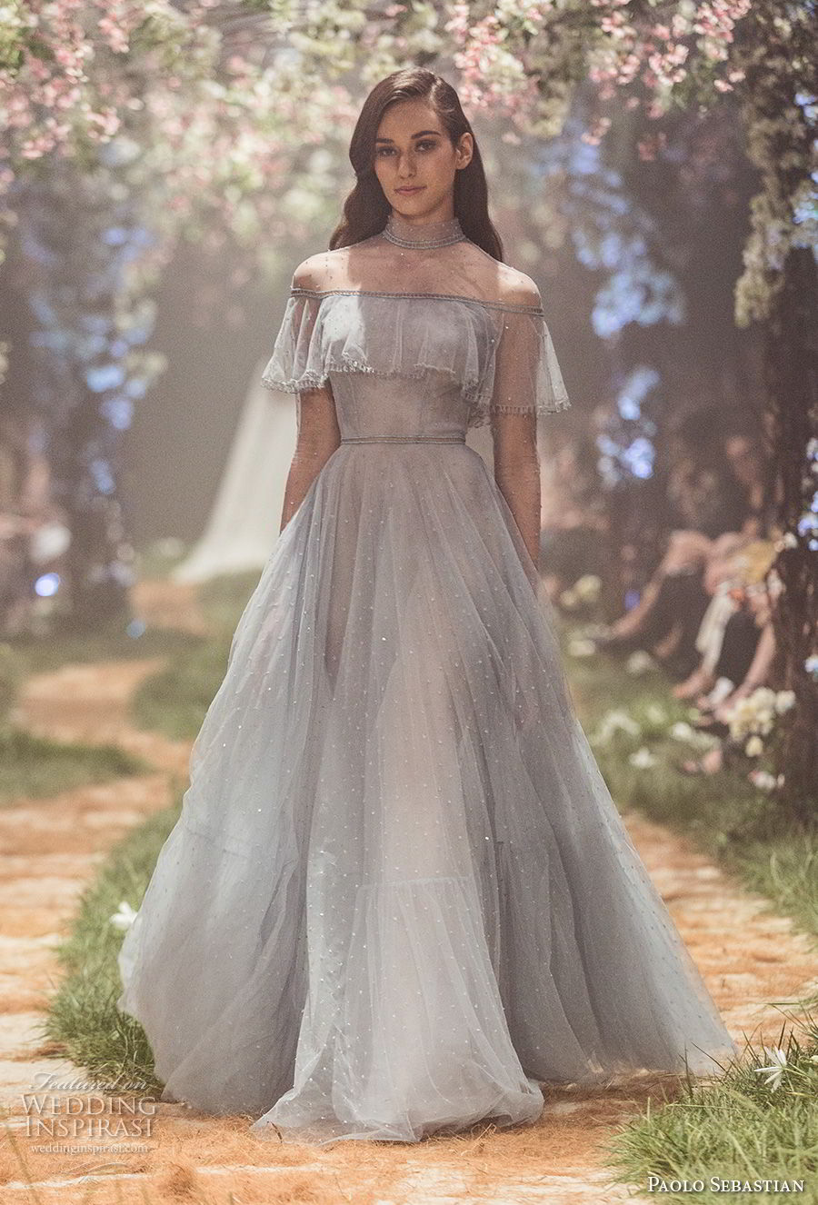 Paolo Sebastian Spring 2018 Couture Long Sleeves Illusion High Neck Straight Across Neckline Light Embellishment