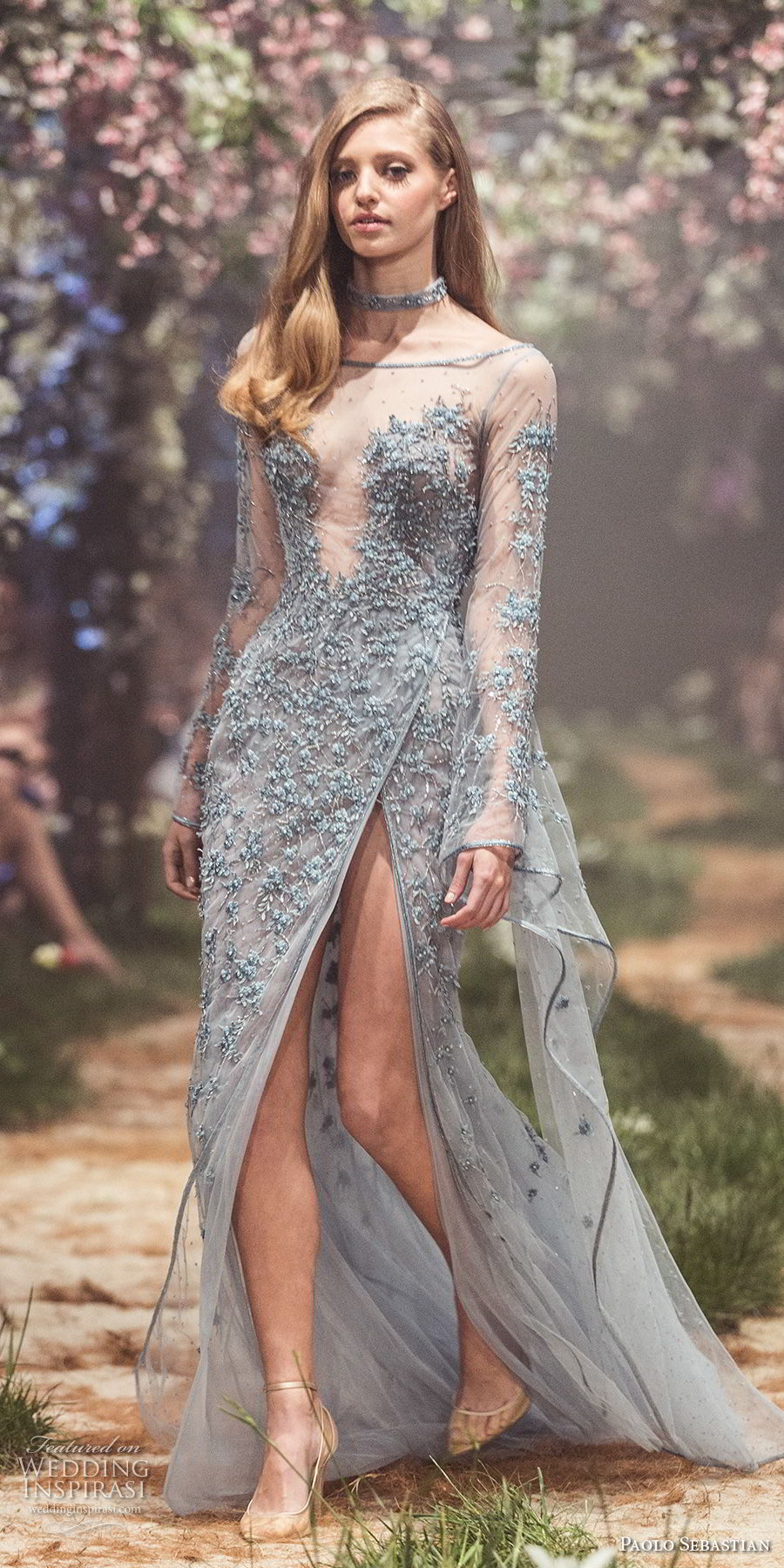 paolo sebastian spring 2018 couture long sleeves illusion high neck sweetheart neck full embellishment side slit blue color modifed a line wedding dress (17) mv