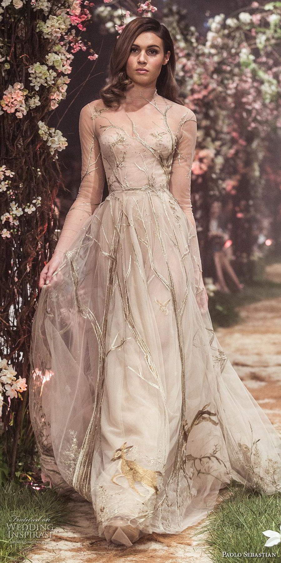 paolo sebastian spring 2018 couture long sleeves illusion high neck sweetheart neckline full embellishment elegant romantic off white a  line wedding dress (19) mv