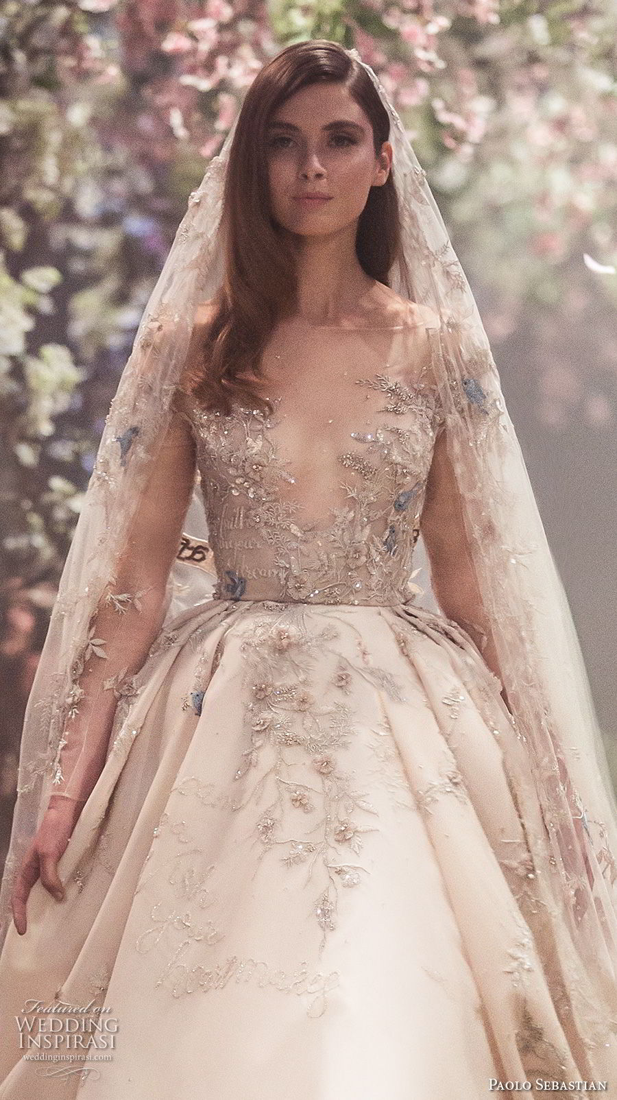 Paolo Sebastian Spring 2018 Couture Long Sleeves Illusion Jewel V Neck Heavily Embellished Bodice Princess Blush