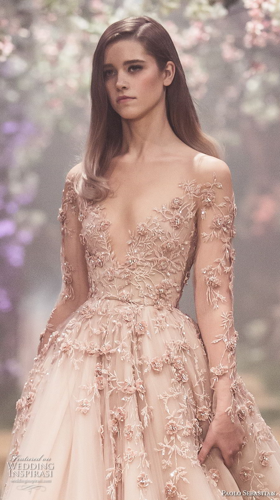 paolo sebastian spring 2018 couture long sleeves illusion jewel v neck heavily embellished bodice romantic blush color a line wedding dress (2) zv