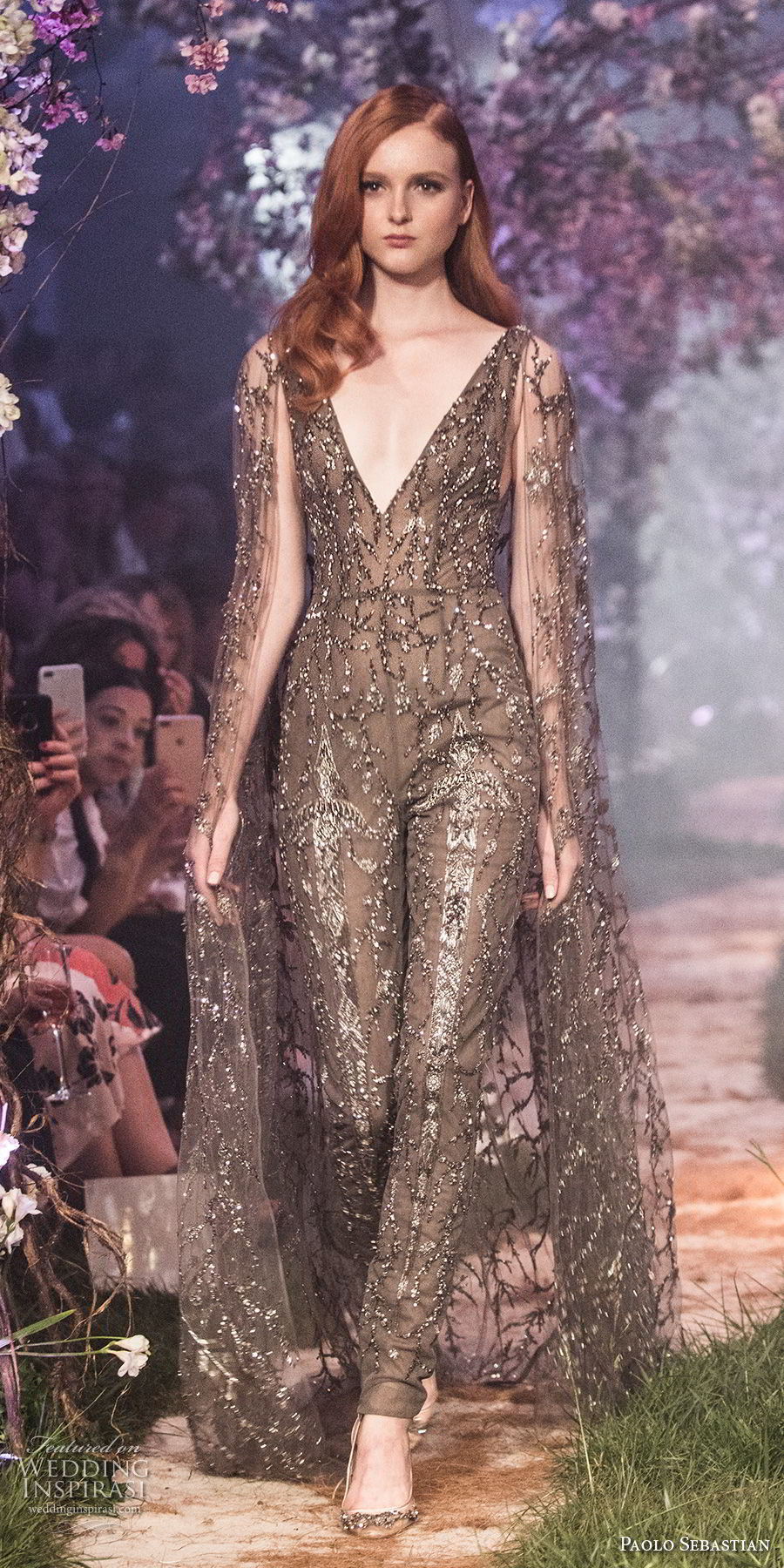 paolo sebastian spring 2018 couture long sleevess deep v neck full embellishment elegant chic sophiscated jumpsuit long pants wedding dress (33) mv