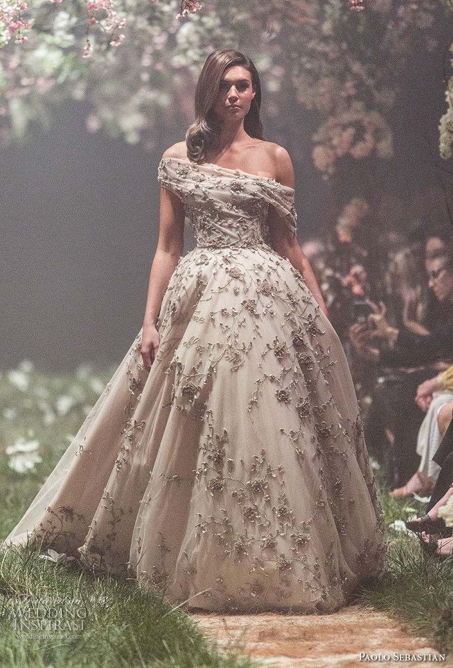 paolo sebastian spring 2018 couture off the shoulder heavily embellished bodice romantic princess ball gown a  line wedding dress (4) mv