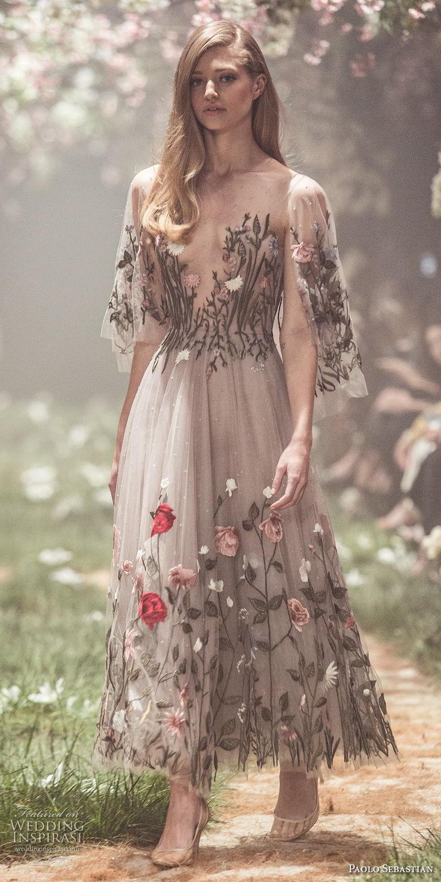 paolo sebastian spring 2018 couture short hanging sleeves illusion bateau v neck full embellishment romantic color wedding dress knee length a  line short wedding dress (9) mv