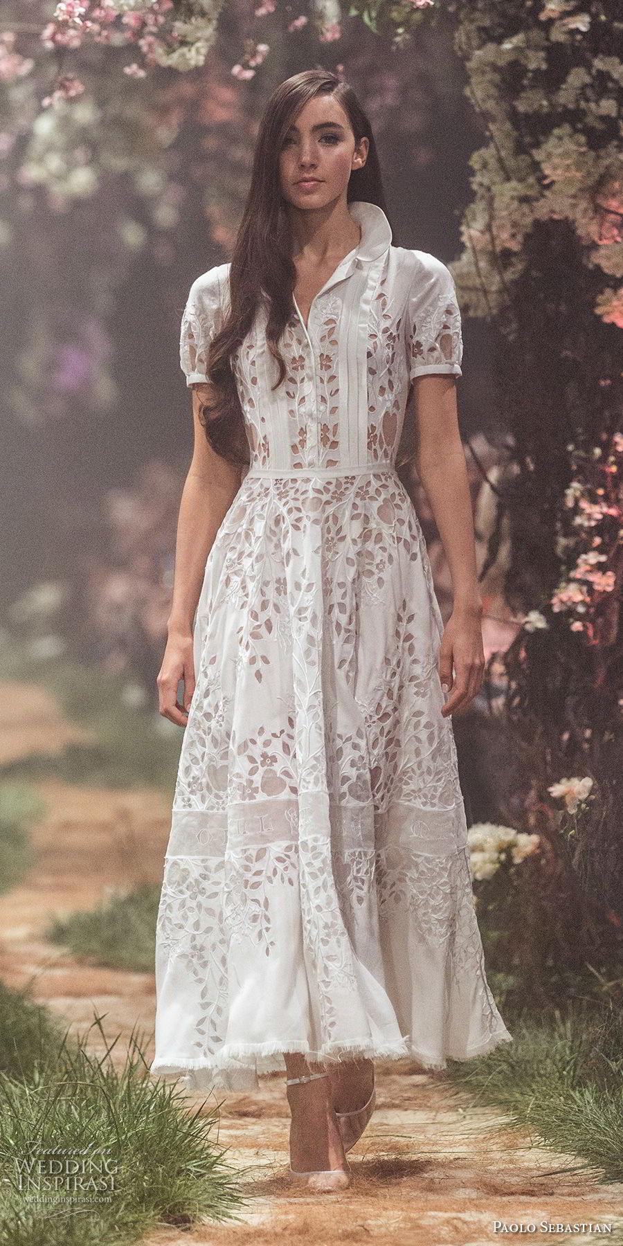 paolo sebastian spring 2018 couture short sleeves collar shirt full embellishment elegant tea length a  line wedding dress (21) mv