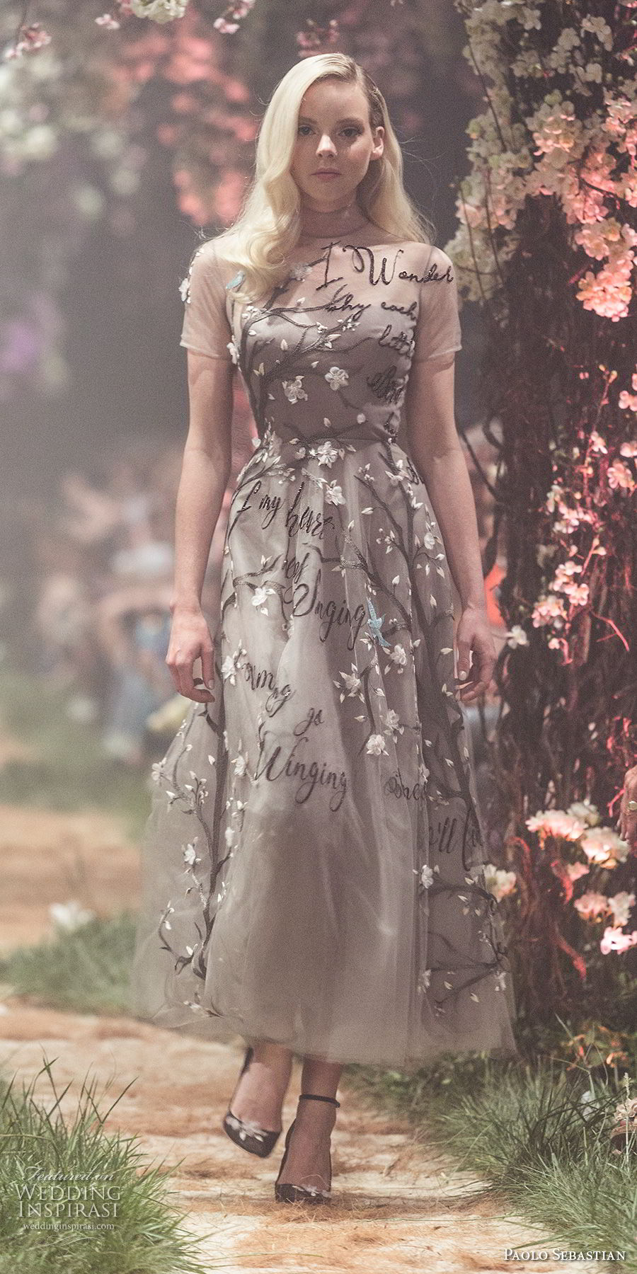 paolo sebastian spring 2018 couture short sleeves high neck heavily embellished bodice romantic tea length short wedding dress (20) mv