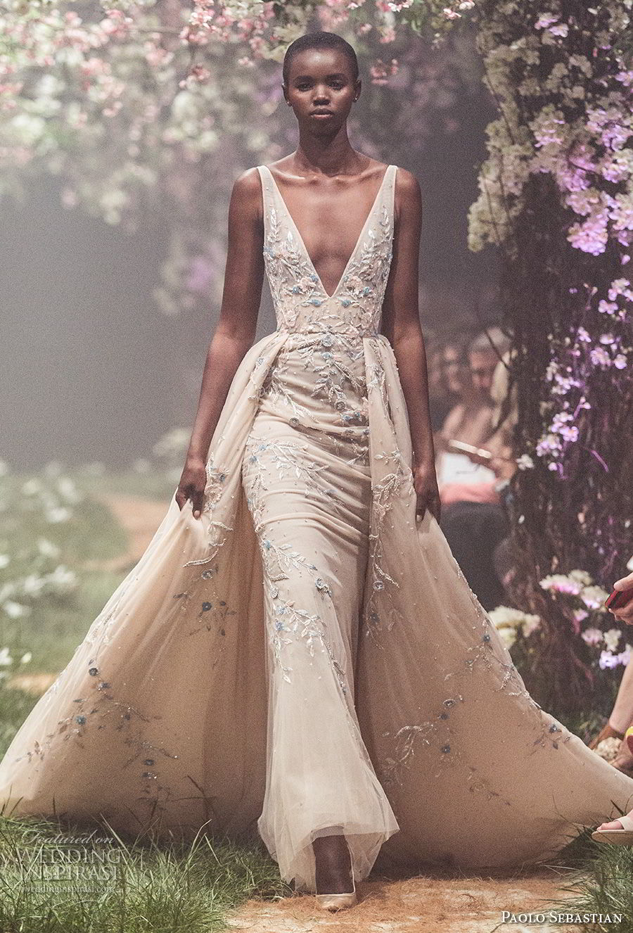 paolo sebastian spring 2018 couture sleeveless deep v neck heavily embellished bodice elegant champagne color sheath wedding dress a line overskirt (12) mv