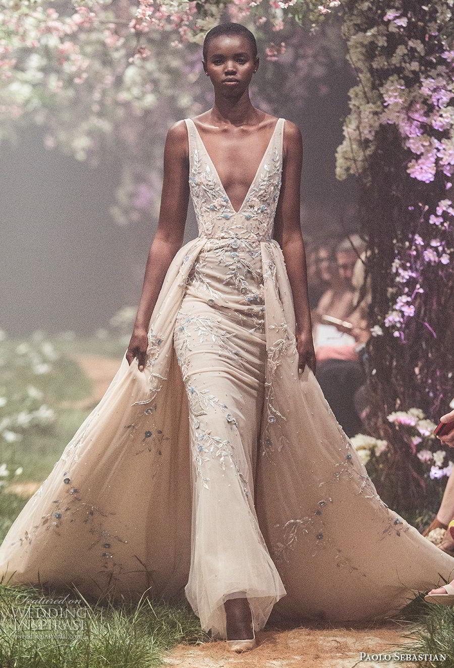 paolo sebastian spring 2018 couture sleeveless deep v neck heavily embellished bodice elegant champagne color sheath wedding dress a  line overskirt (12) mv