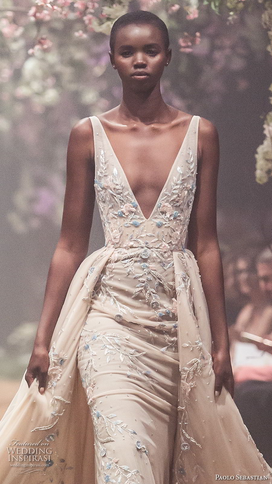 paolo sebastian spring 2018 couture sleeveless deep v neck heavily embellished bodice elegant champagne color sheath wedding dress a  line overskirt (12) zv