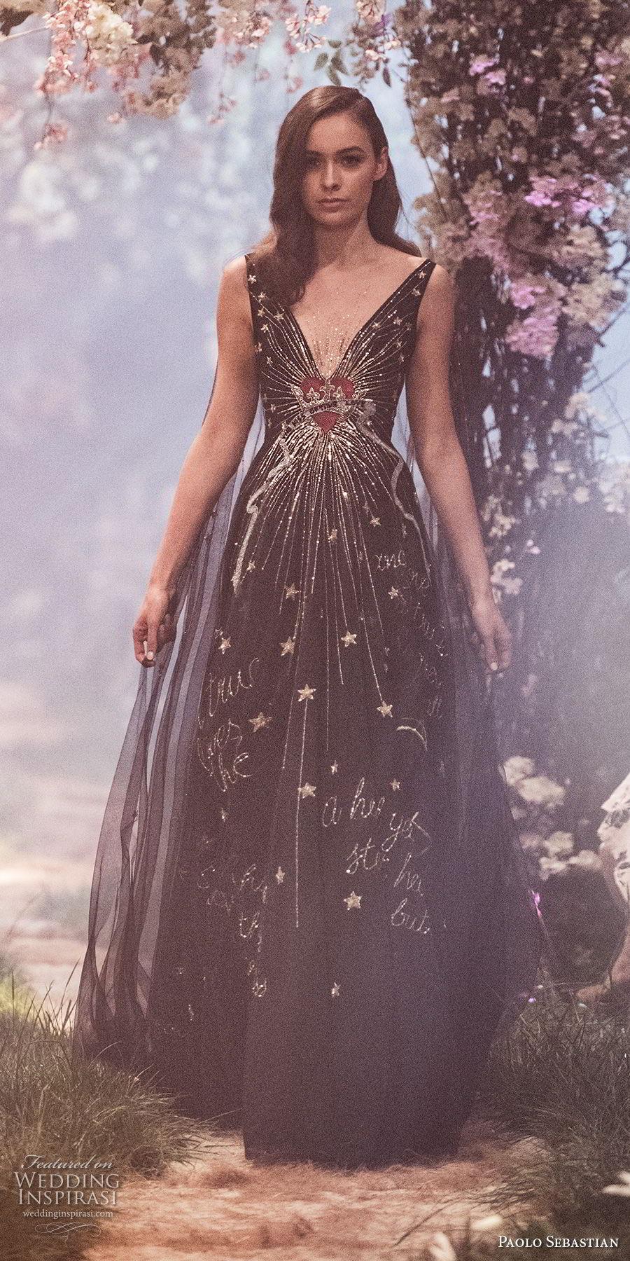 paolo sebastian spring 2018 couture sleeveless deep v neck heavily embellished bodice elegant chic black a  line wedding dress (25) mv