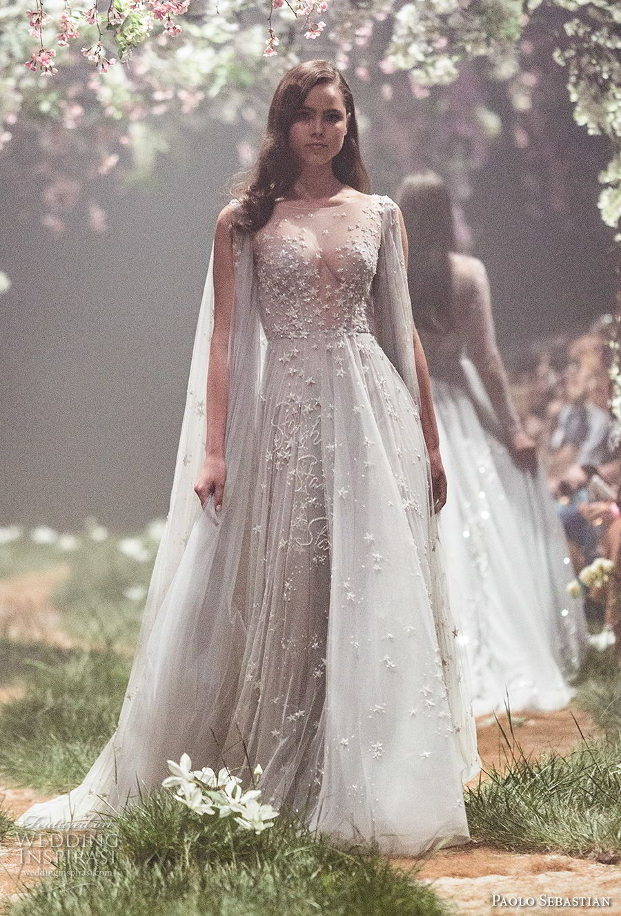 paolo sebastian spring 2018 couture sleeveless illusion bateau v neck full embellishment drape elegant grecian pastel blue color romantic soft a  line wedding dress (3) mv