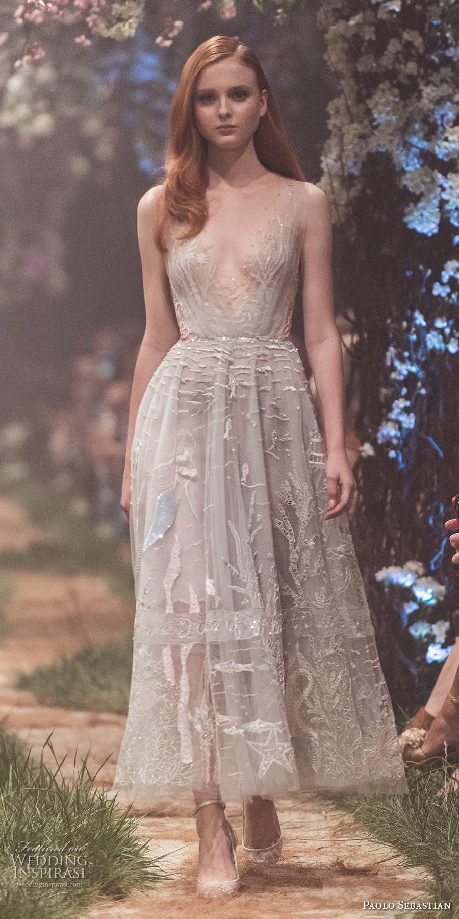 paolo sebastian spring 2018 couture sleeveless illusion bateau v neck full embellishment romantic knee length short wedding dress (11) mv