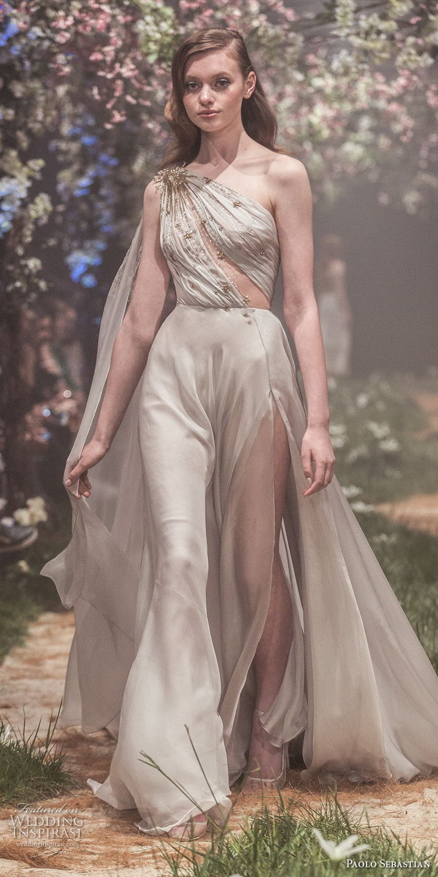 paolo sebastian spring 2018 couture sleeveless one shoulder ruched bodice side slit soft a  line wedding dress (10) mv