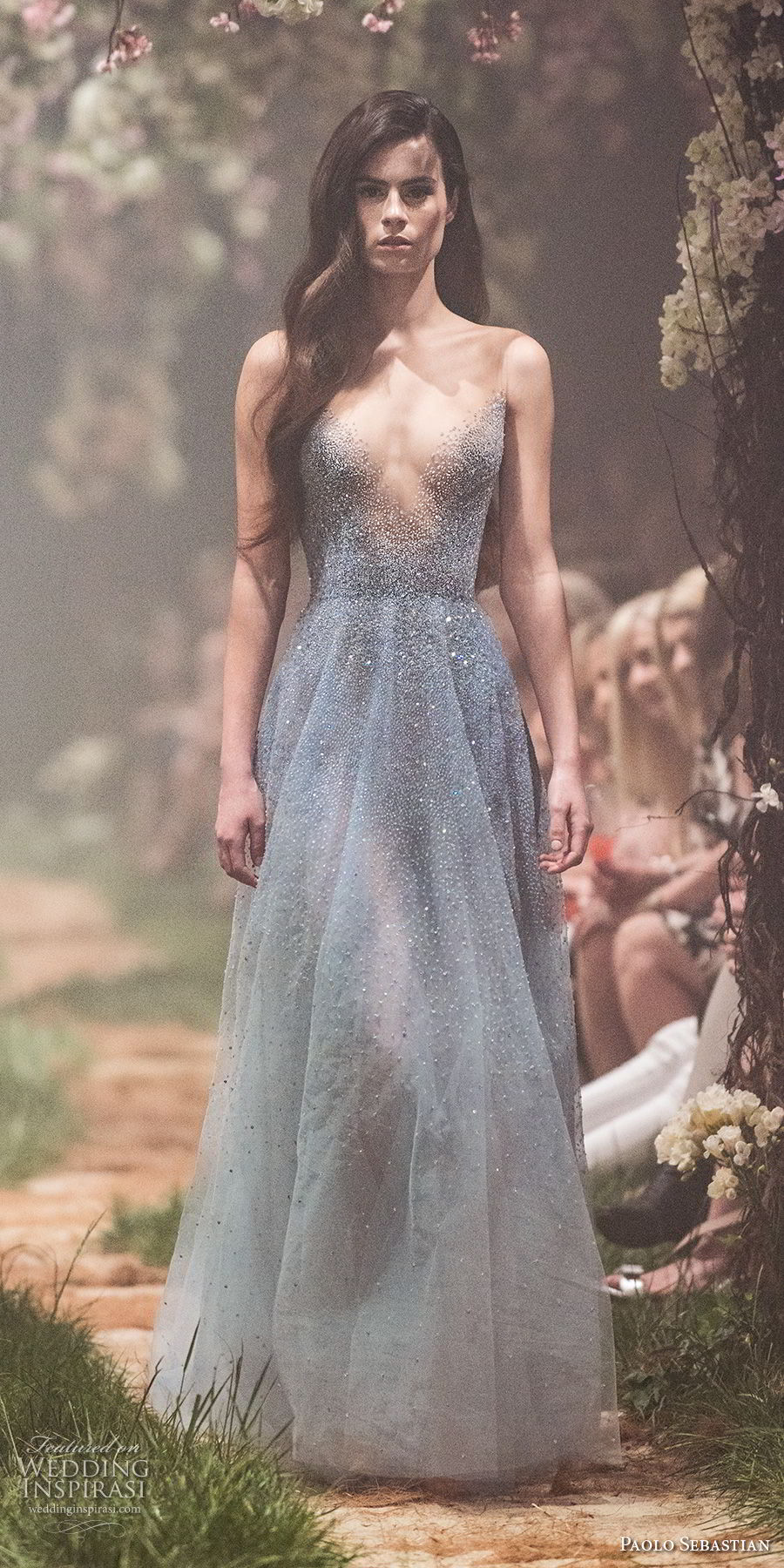 paolo sebastian spring 2018 couture sleeveless v neck heavily embellished bodice elegant blue color modified a line wedding dress (23) mv