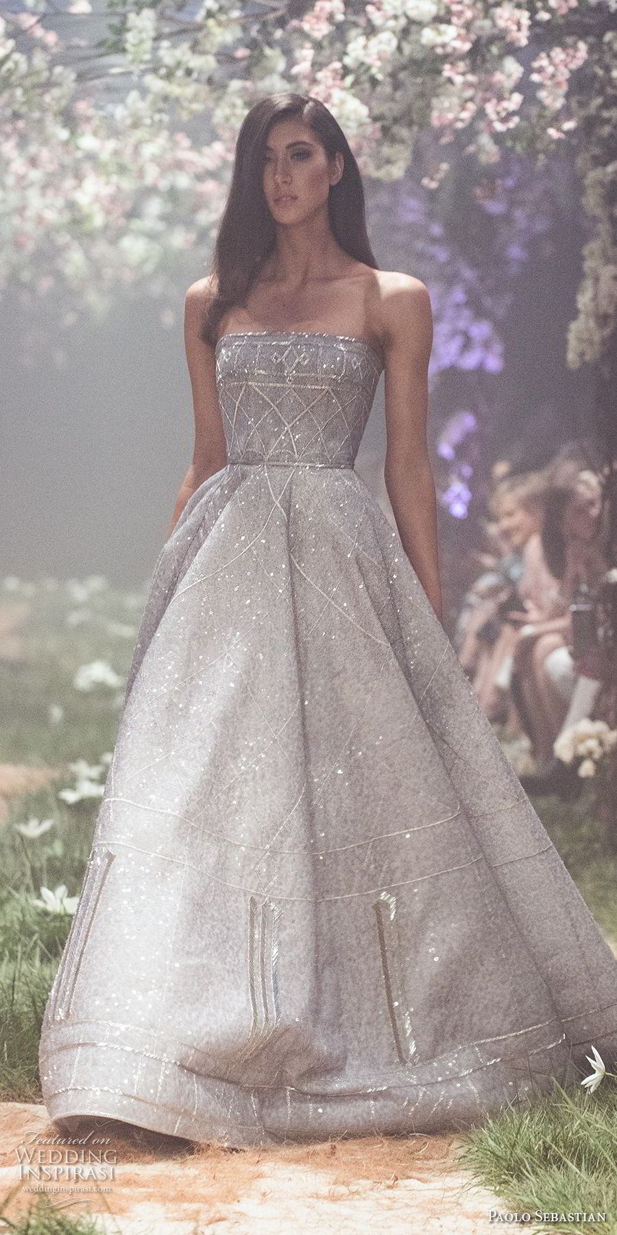 paolo sebastian spring 2018 couture strapless straight across full embellishment romantic greyish blue a line wedding dress (28) mv