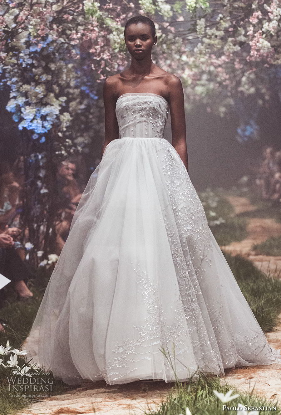 paolo sebastian spring 2018 couture strapless straight across heavily embellished bodice romantic ball gown a  line wedding dress (30) mv