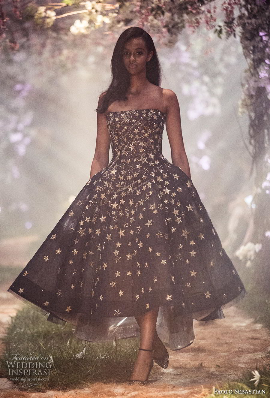 paolo sebastian spring 2018 couture strapless straight across neckline full embellishment romantic pretty cute black tea length short wedding dress (5) mv