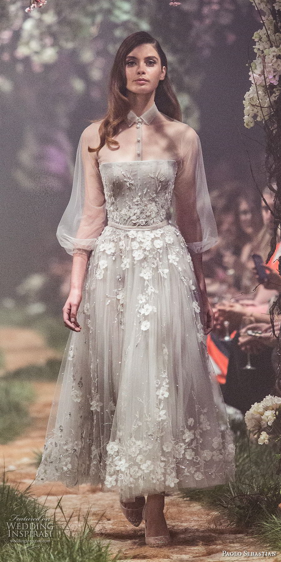 paolo sebastian spring 2018 couture three quarter bishop sleeves collar shirt full embellishment romantic gray tea length short wedding dress (22) mv