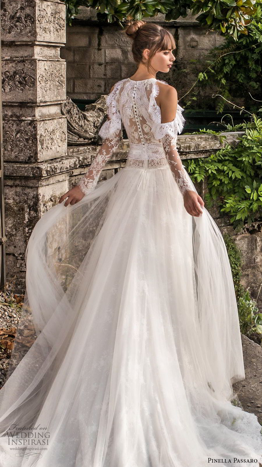 pinella passaro 2018 bridal cold shoulder long sleeves halter neck jewel neck heavily embellished bodice elegant romantic a line wedding dress covered lace back chapel back (7) bv