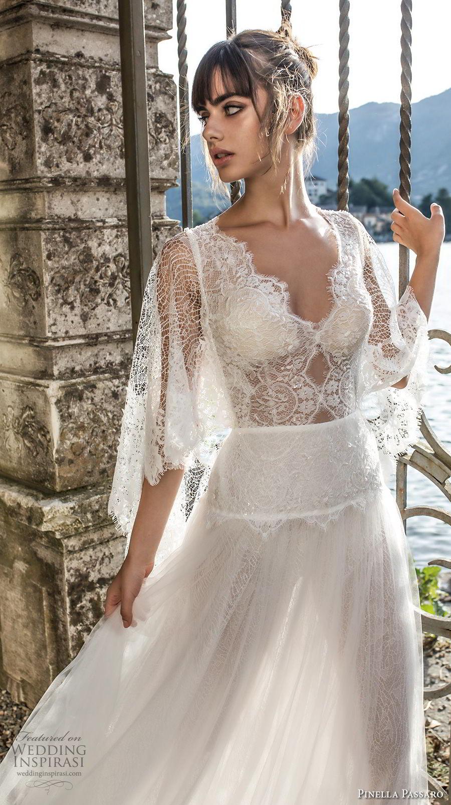 pinella passaro 2018 bridal half cornet sleeves v neck heavily embellished bodice tulle skirt elegant romantic soft a  line wedding dress open back (8) mv zv
