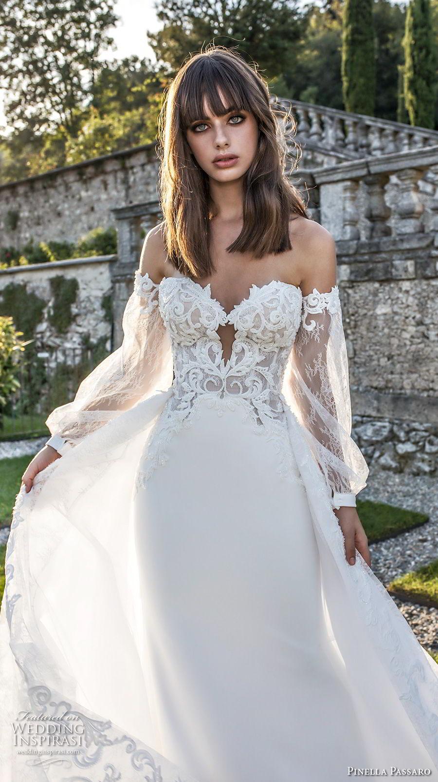 pinella passaro 2018 bridal long bishop sleeves strapless sweetheart neckline heavily embellished bodice elegant romantic sheath wedding dress a  line overskirt (17) zv mv