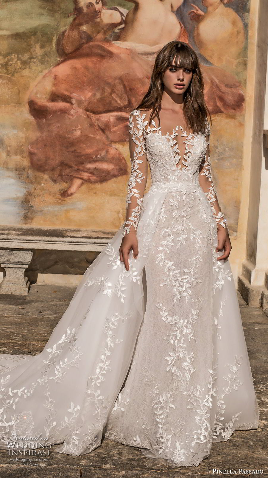 pinella passaro 2018 bridal long sleeves deep plunging sweetheart neck full embellishment princess romantic fit and flare wedding dress a line overskirt long train (15) mv