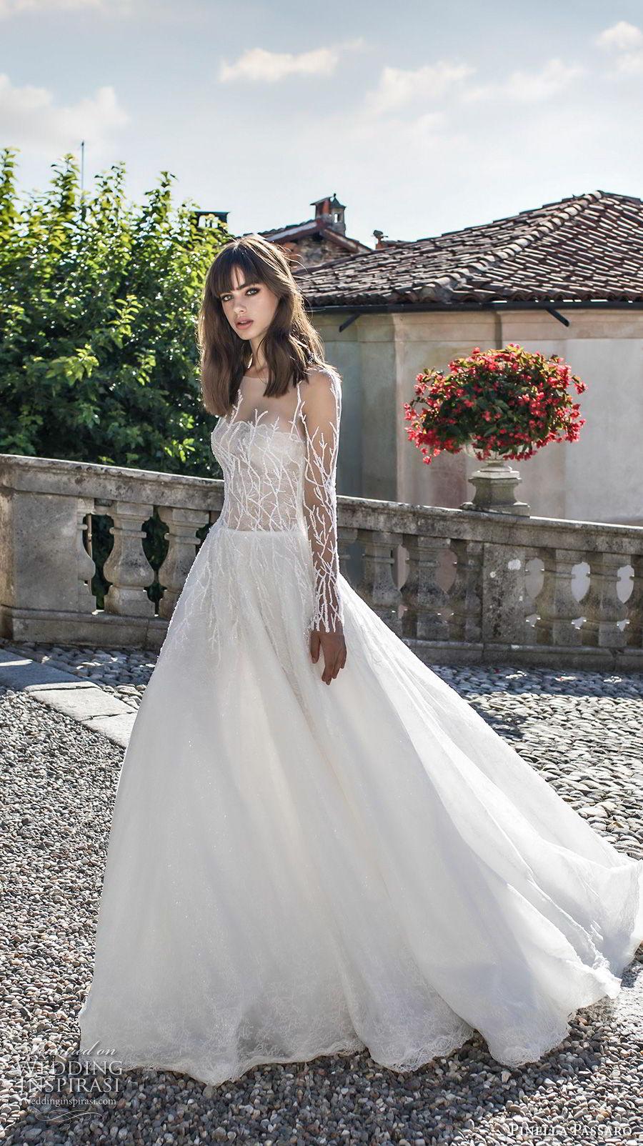 pinella passaro 2018 bridal long sleeves illusion bateau straight across neckline heavily embellished bodice romantic a  line wedding dress covered embellished back sweep train (11) mv