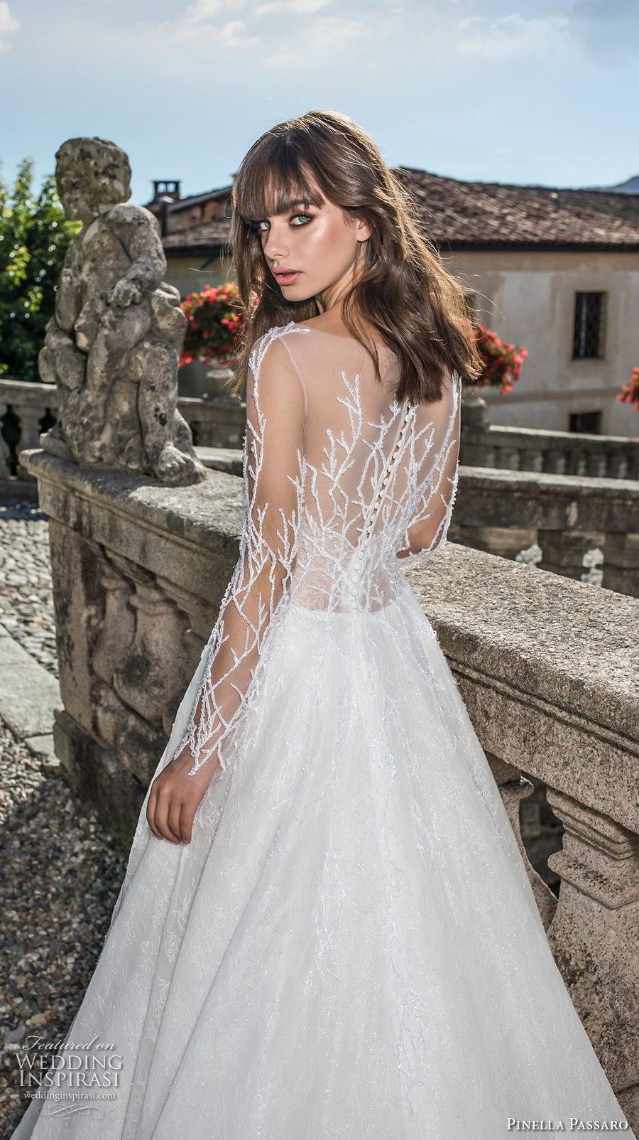pinella passaro 2018 bridal long sleeves illusion bateau straight across neckline heavily embellished bodice romantic a  line wedding dress covered embellished back sweep train (11) zbv