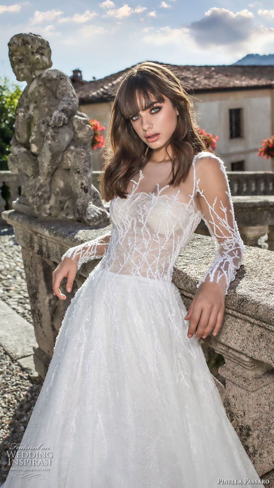 pinella passaro 2018 bridal long sleeves illusion bateau straight across neckline heavily embellished bodice romantic a  line wedding dress covered embellished back sweep train (11) zv